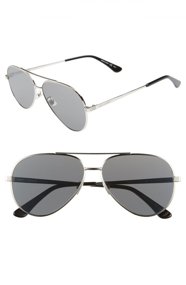 Men's Saint Laurent Classic 11 Zero 60Mm Aviator Sunglasses - Silver