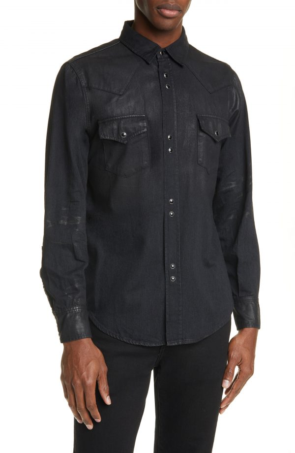 Men's Saint Laurent Classic Western Shirt, Size Small - Black