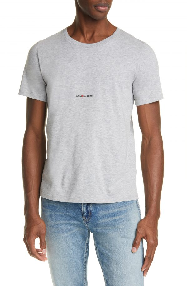Men's Saint Laurent Gauche Logo T-Shirt, Size Small - Grey