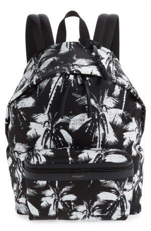 Men's Saint Laurent Palm Tree City Backpack - Black