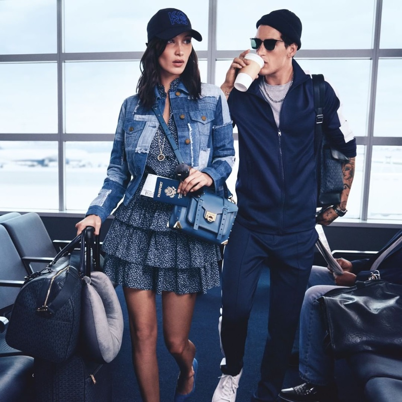 Taking to the airport, Bella Hadid and Austin Augie front Michael Kors' spring-summer 2020 campaign.