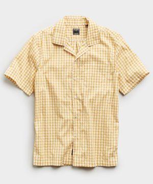 Micro Gingham Short Sleeve Shirt in Yellow