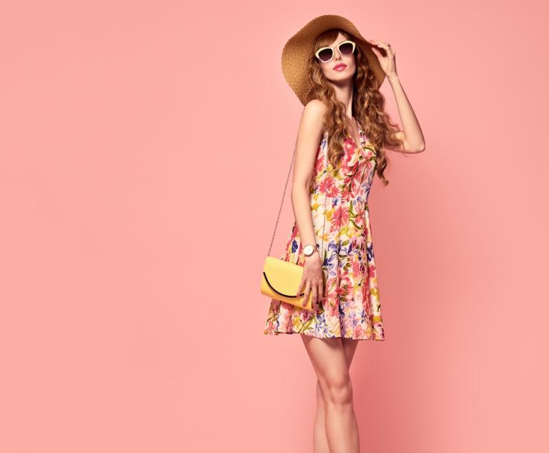 Model Printed Dress Spring-Summer Hat Sunglasses Bag