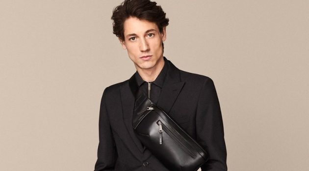 Front and center, Nicolas Ripoll models a technical belt bag for Furla's spring-summer 2020 campaign.