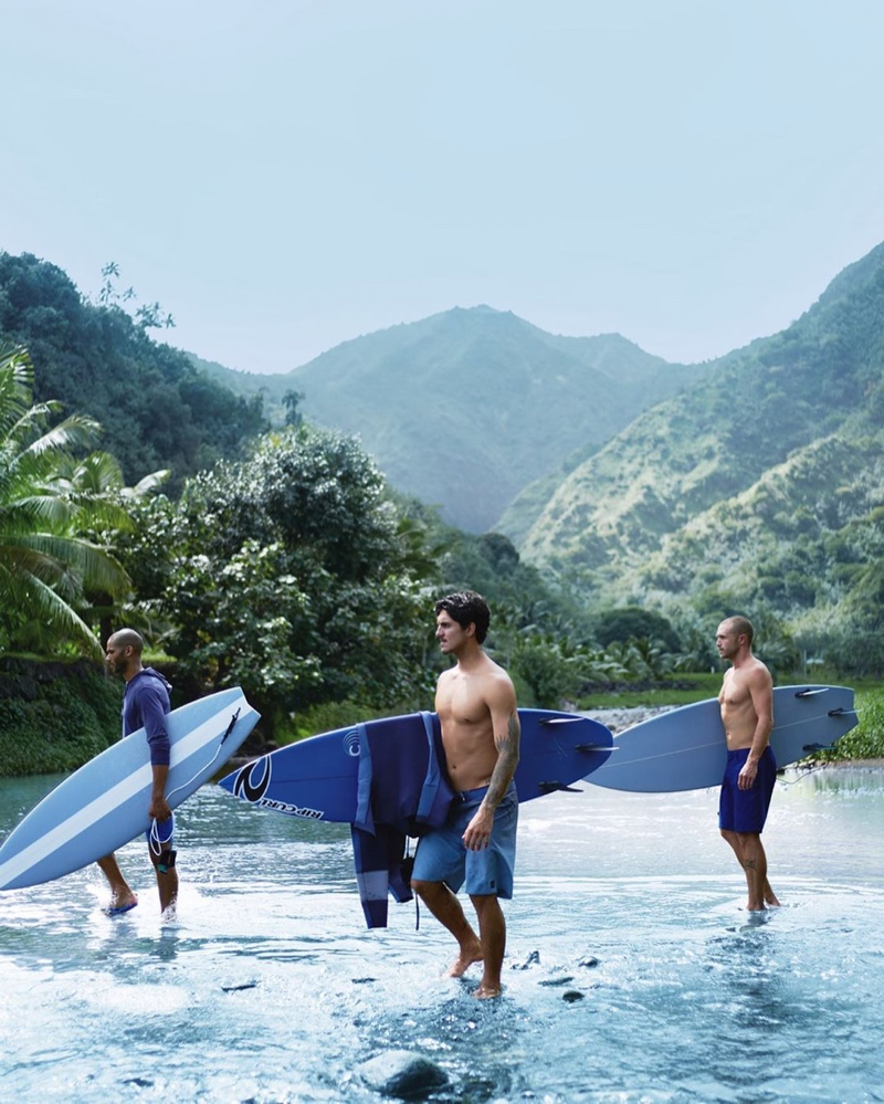 Nate Gill, Gabriel Medina, and Corey Wilson come together for POLO Deep Blue.