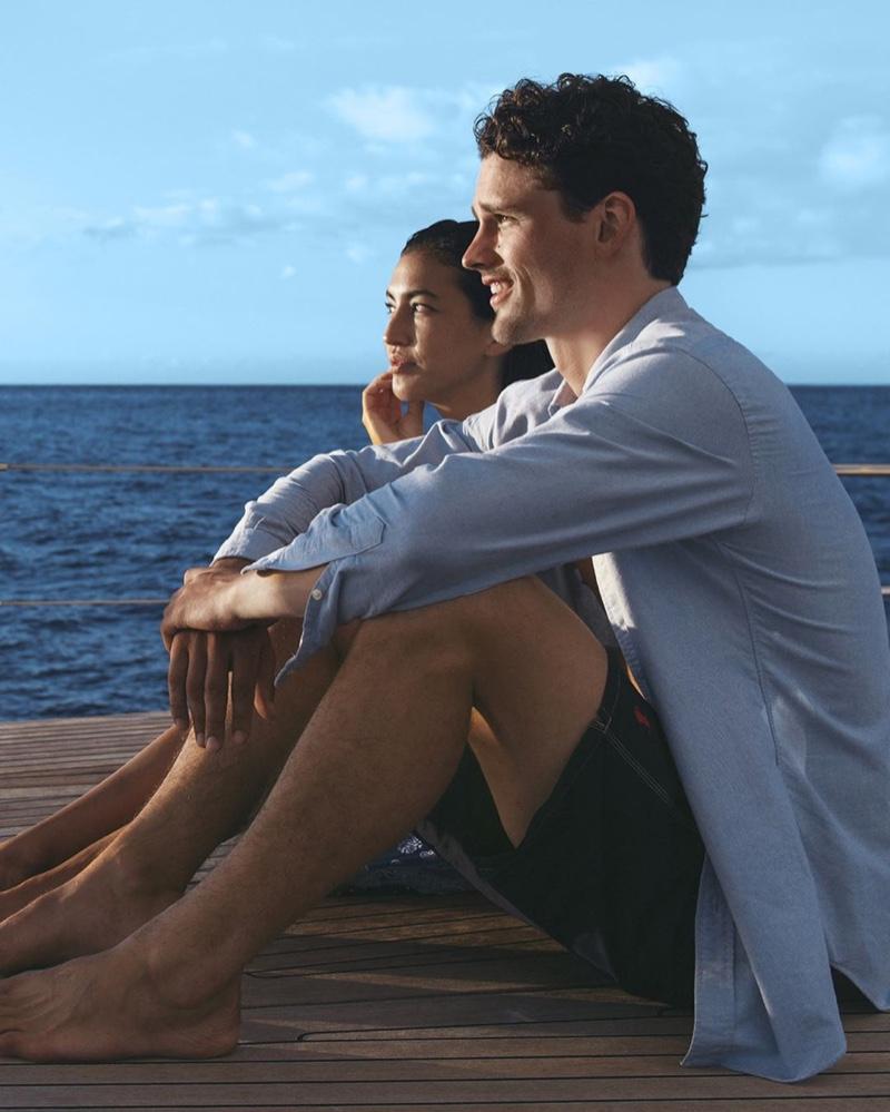 Leila Dee Thomas and Simon Nessman appear in the POLO Ralph Lauren Deep Blue fragrance campaign.