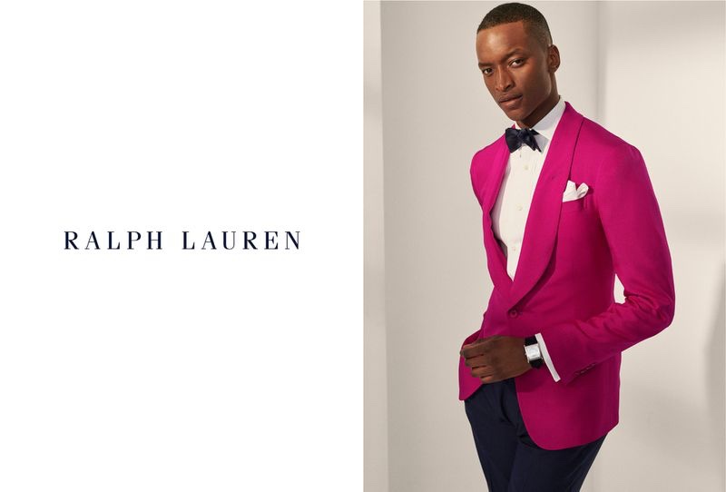 Oliver Kumbi is dressed to the nines for Ralph Lauren Purple Label's spring-summer 2020 campaign.