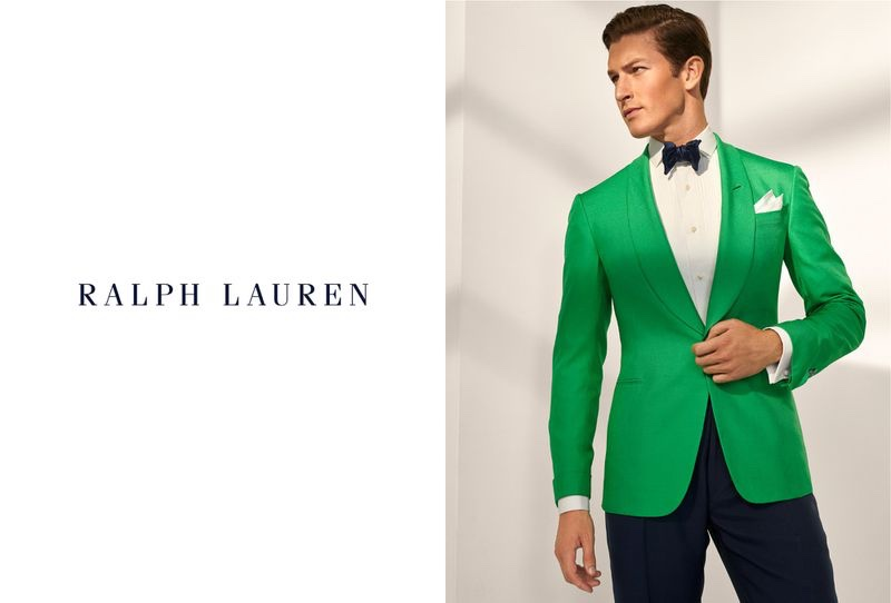 Oli Lacey makes a statement in a bright green tuxedo jacket for Ralph Lauren Purple Label's spring-summer 2020 campaign.