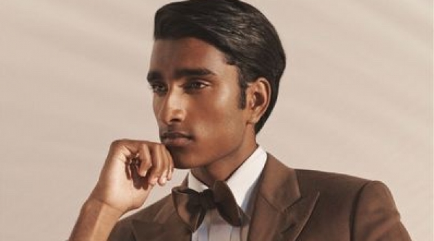 Jeenu Mahadevan is a dashing vision in a brown suit jacket for Ralph Lauren Purple Label's spring-summer 2020 campaign.