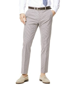 Red and Navy Cotton Check Sutton Suit Trouser