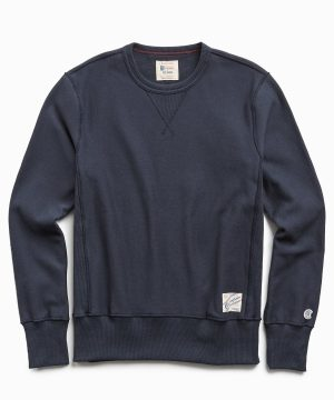 Reverse Weave Crew in Original Navy