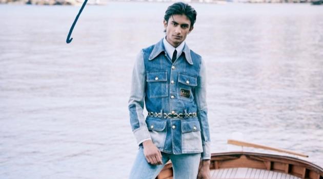 Rishi Robin sports a denim look from Gucci for Bergdorf Goodman's spring 2020 Goodman's Guide.