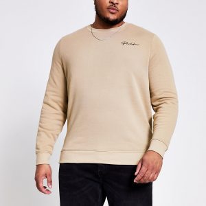 River Island Mens Big and Tall Prolific stone slim sweatshirt