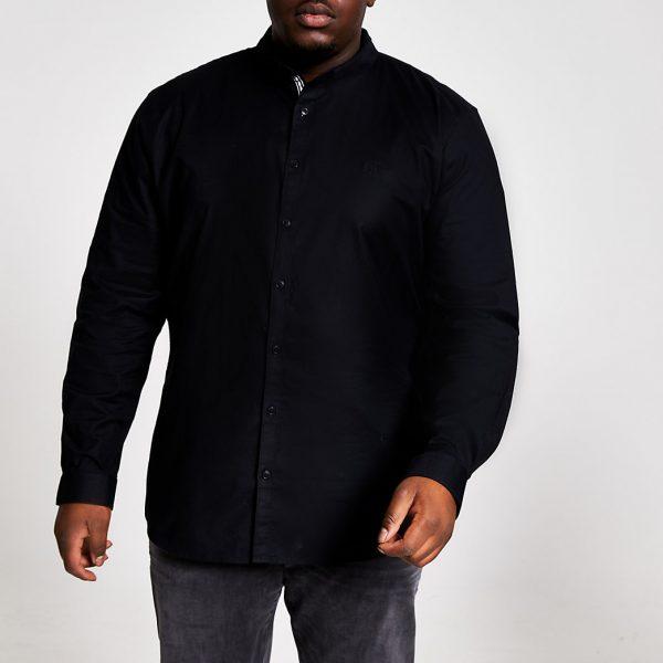 River Island Mens Big and Tall black slim fit Oxford shirt