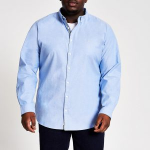 River Island Mens Big and Tall blue slim fit Oxford shirt