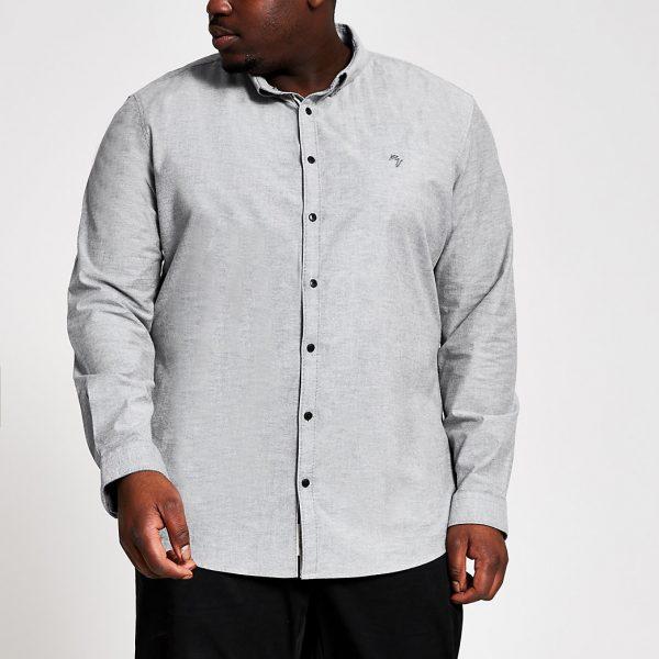 River Island Mens Big and Tall grey slim fit Oxford shirt