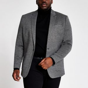 River Island Mens Big and Tall grey textured blazer