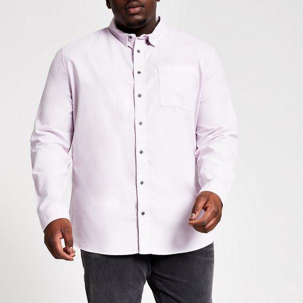 River Island Mens Big and Tall lilac long sleeve shirt
