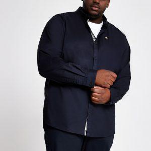 River Island Mens Big and Tall navy Oxford slim fit shirt