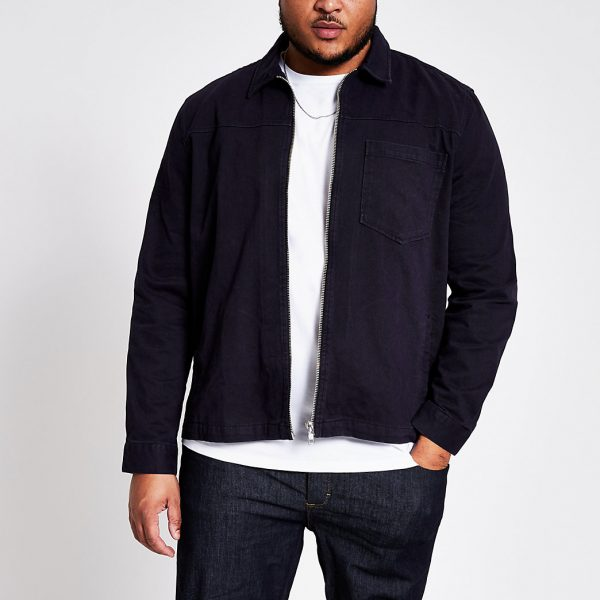 River Island Mens Big and Tall navy sip front overshirt