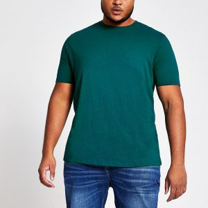 River Island Mens Big and Tall turquoise short sleeve T-shirt