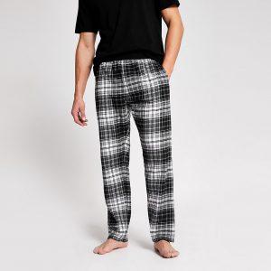 River Island Mens Black check loungewear trousers