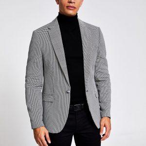 River Island Mens Black check print skinny fit blazer