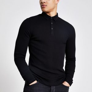 River Island Mens Black long sleeve muscle fit rib polo shirt