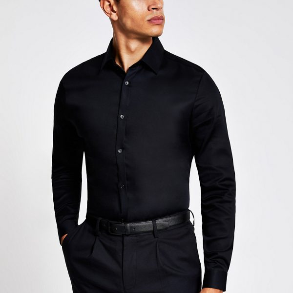 River Island Mens Black long sleeve slim fit premium shirt