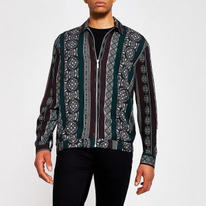 River Island Mens Black print zip front long sleeve overshirt