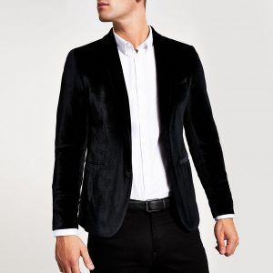 River Island Mens Black super skinny velvet long sleeve blazer