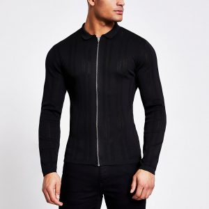 River Island Mens Black zip front muscle fit knitted shirt
