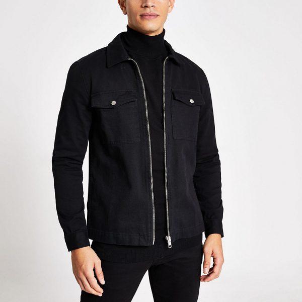 River Island Mens Black zip front regular fit denim overshirt