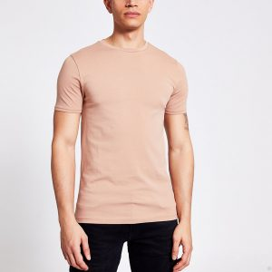 River Island Mens Brown short sleeve muscle fit T-shirt