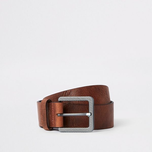 River Island Mens Brown textured square buckle jeans belt