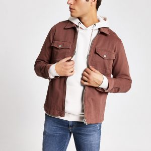 River Island Mens Brown zip front regular fit overshirt