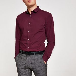 River Island Mens Dark red slim fit long sleeve shirt