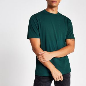 River Island Mens Dark teal regular fit short sleeve T-shirt