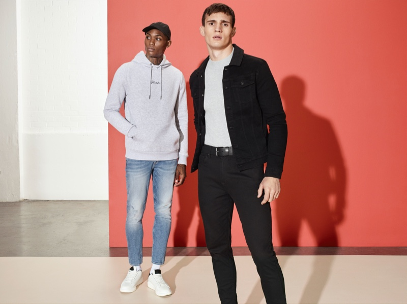Karl Rawlings and Julian Schneyder star in River Island's spring-summer 2020 denim campaign.