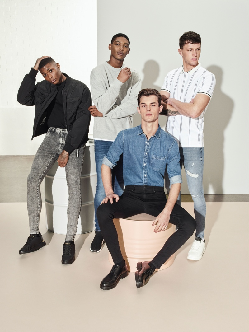 River Island enlists Karl Rawlings, Timothy Lewis, Kit Butler, and Jack Buchanan to star in its spring-summer 2020 denim campaign.