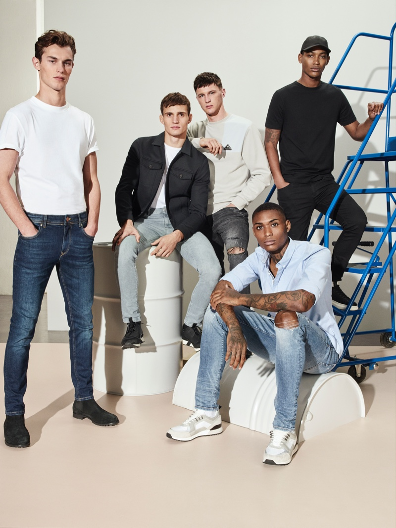 Kit Butler, Julian Schneyder, Jack Buchanan, Karl Rawlings, and Timothy Lewis appear in River Island's spring-summer 2020 denim campaign.