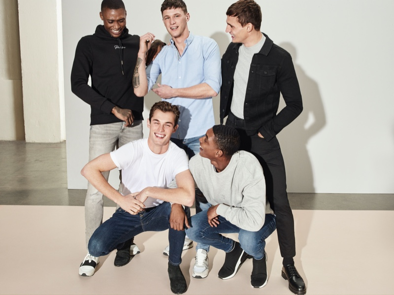 Sporting River Island's latest denim styles, Karl Rawlings, Kit Butler, Jack Buchanan, Julian Schneyder, and Timothy Lewis connect with the brand for its spring-summer 2020 campaign.