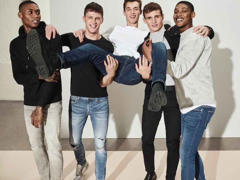 The life of the party, Karl Rawlings, Jack Buchanan, Kit Butler, Julian Schneyder, and Timothy Lewis come together for River Island's spring-summer 2020 denim campaign.