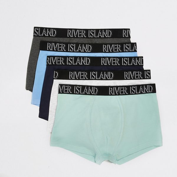 River Island Mens Green pastel RI hipsters 5 pack