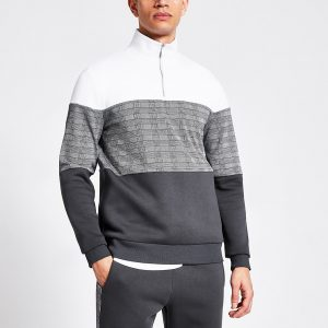 River Island Mens Grey check blocked half zip slim sweatshirt
