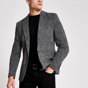 River Island Mens Grey check print skinny fit blazer