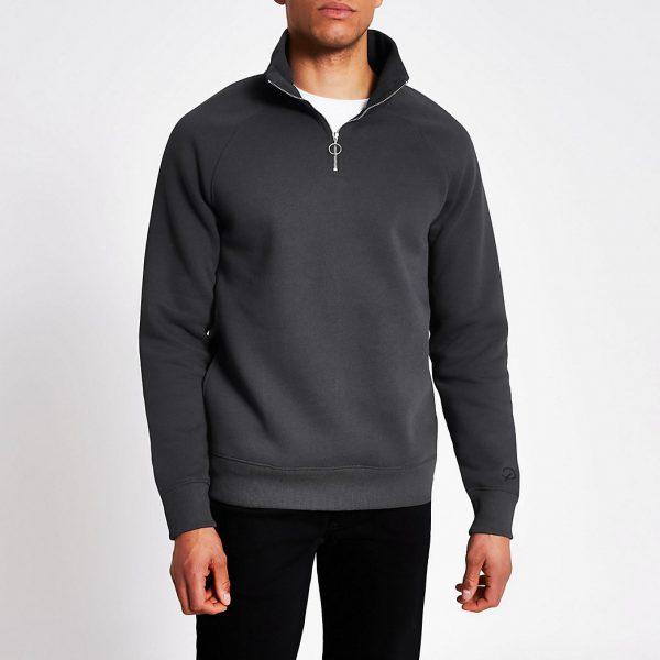 River Island Mens Grey half zip slim fit sweatshirt