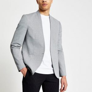 River Island Mens Grey pique collarless skinny fit blazer