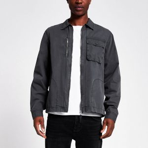 River Island Mens Grey washed zip front overshirt