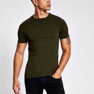River Island Mens Khaki muscle fit short sleeve T-shirt
